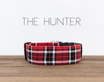 "Dapper Dog Collar Red & Black Plaid ""The Hunter"""