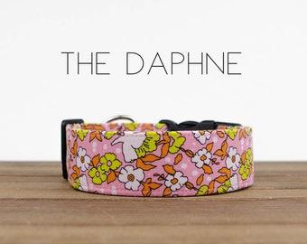 "Pink, Orange and Chartreuse Floral Vintage Inspired Dog Collar ""The Daphne"""