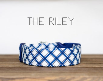 "Modern Menswear Inspired Blue & White Plaid Dog Collar ""The Riley"""