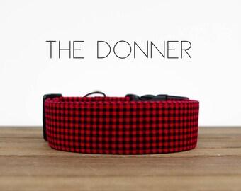 "Red & Black Lumberjack Mini Buffalo Plaid Christmas Dog Collar ""The Donner"""