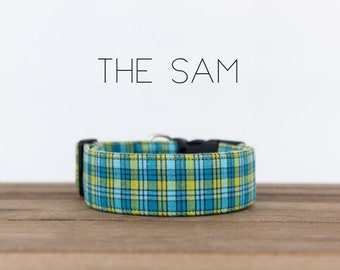"Blue and Yellow Modern Checked Plaid Dog Collar ""The Sam"""
