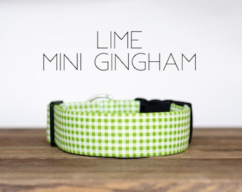 Lime Mini Gingham Dog Collar