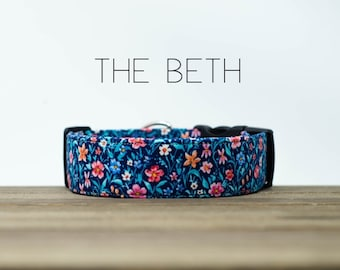 "Blue and Pink Modern Vintage Fall Floral Dog Collar ""The Beth"""