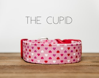 """Valentine's Day Dog Collar Red, Pink & White Hearts Collar  """"The Cupid"""""""