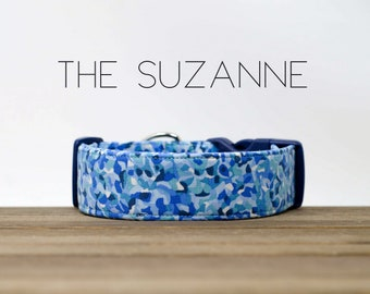 "Blue and White Watercolor Abstract Dog Collar ""The Suzanne"""