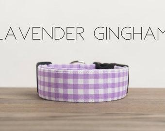 Modern Summery Gingham Dog Collar in Lavender