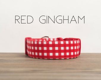 Modern Summery Gingham Dog Collar in Red