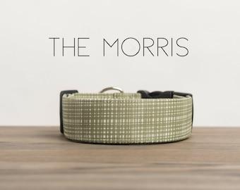 "Green & White Crosshatch Menswear Inspired Dog Collar ""The Morris"""