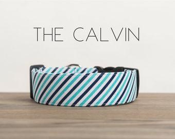 """Dog Collar Preppy Navy & Blue Diagonal Striped  """"The Calvin"""""""