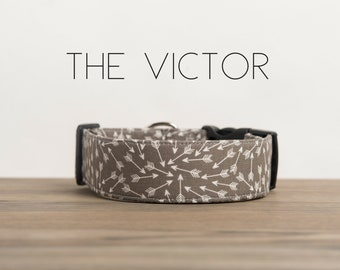 """Modern Grey and White Arrow Dog Collar """"The Victor"""""""