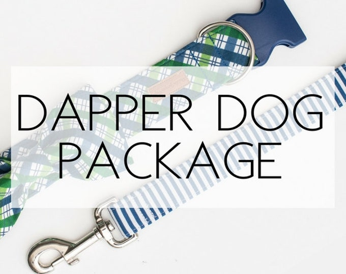 Featured listing image: Dapper Dog Package- includes collar, leash and bowtie(made from any fabric in our shop)