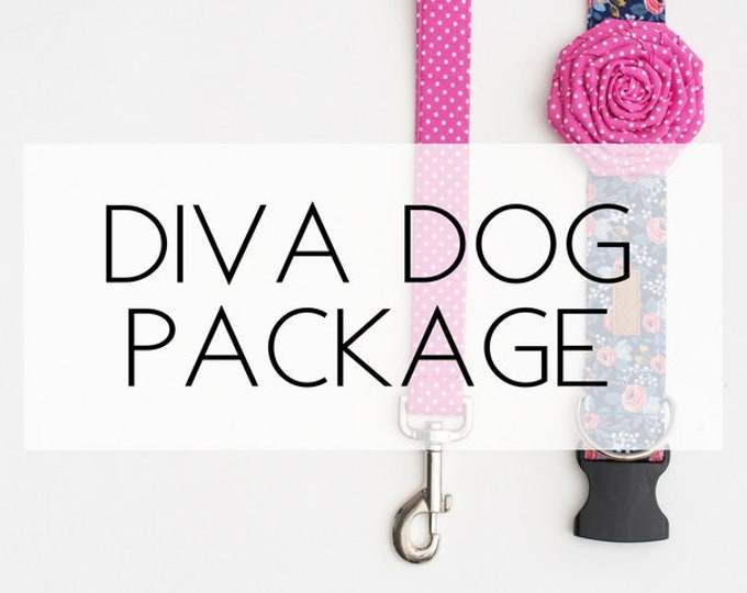 Featured listing image: Diva Dog Package- includes collar, leash and flower attachment