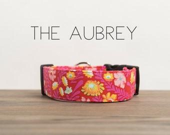 """Bright Modern Red Mustard & Hot Pink Dog Collar """"The Aubrey"""""""
