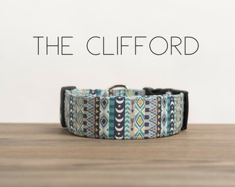 """Multi-color Blue Aztec Inspired Dog Collar """"The Clifford"""""""