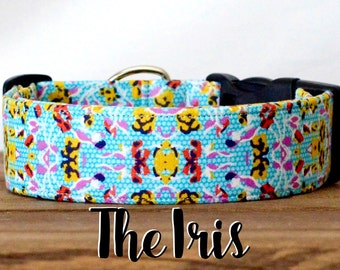 """Vintage Inspired Blue,Pink & Yellow Floral Dog Collar """"The Iris"""""""