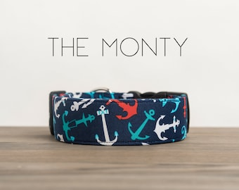 """Nautical Navy, Red & White Anchor Dog Collar """"The Monty"""""""