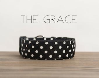 "Classic Black & White Polka Dot Dog Collar ""The Grace"""