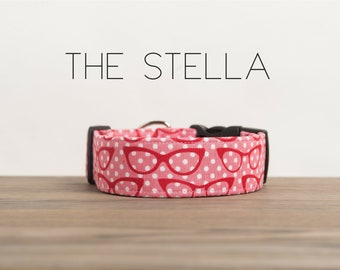 """Girly Vintage Glasses Pink & Red Dog Collar """"The Stella"""""""