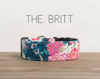 """Navy Lace with Pink Modern Floral Dog Collar """"The Britt"""""""