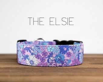 "Purple Girly Floral Flower Dog Collar  ""The Elsie"""