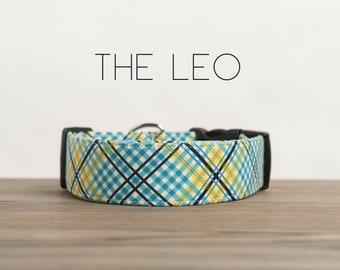 "Colorful Modern Plaid Dog Collar ""The Leo"""
