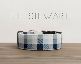 "Preppy Blue & Navy Plaid Dog Collar  ""The Stewart"""