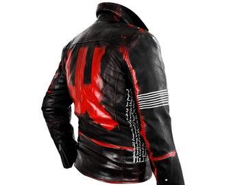 b684f18f56ff Men s Jacket Grafik Black Red in size Large - Rannka hand painted jacket