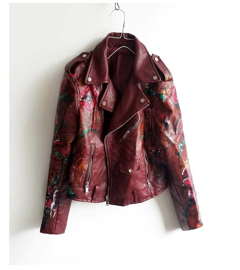 613db21ddd07 Hand painted jacket Poppy flowers dark red jacket vegan