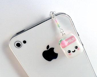 Kawaii Strawberry Milk Phone Charm, for iPod or Smartphone, Cute :D