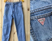 Vintage 80s Guess High Waisted Jeans Cutoff Frayed Leg Size 30 Light Wash Denim High Rise Jeans Tapered Leg Georges Marciano Made in USA
