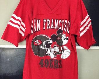 1d033567de3 Vintage 49ers Shirt   Disney Mickey Mouse Shirt   Vintage San Francisco  49ers Football Jersey   Men s Size Small
