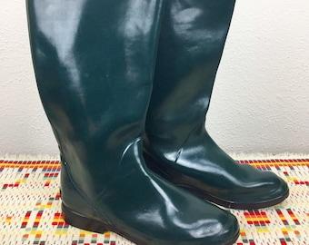 f009069e8358 Bottes de pluie L.L. Bean, Vintage des années 1980, les de femmes taille 7,  bottes en caoutchouc vert de chasseur