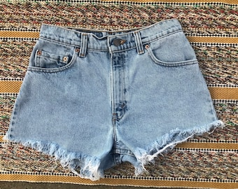 1990s Vintage denim button front shorts with checkered detail XSS