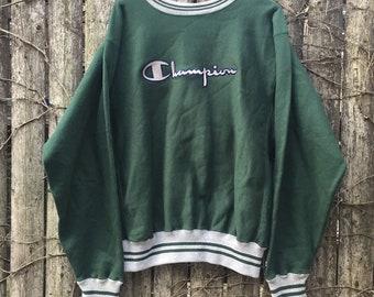 a980e1543 Champion Reverse Weave Sweatshirt Mens Large 90s Green Spellout Striped  Sweatshirt Vintage Champion