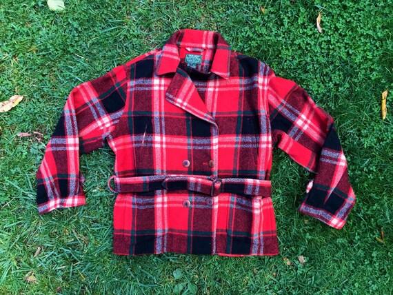 Ralph Lauren Country Red Green Plaid Wool Jacket B