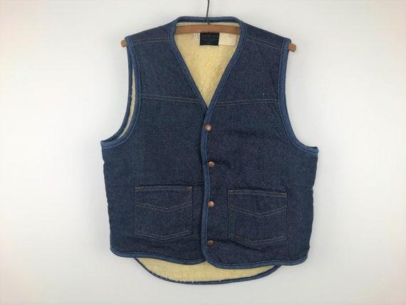 Medium Vintage 60/'s Sears and Roebucks Sherpa Lined Denim Vest snap buttons Dark wash hippie distressed denim festival vest boho Cowboy
