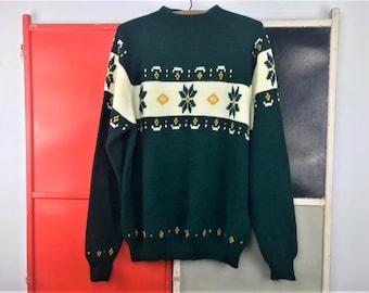 Vintage 70s Snowflake Sweater Nordic Fair Isle Pullover Mockneck Men's XL Montgomery Ward Acrylic Knit Retro 1970s Winter Sweater