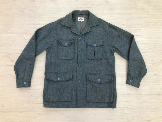 Vintage Woolrich Jacket Green Tweed Wool CPO Jacke