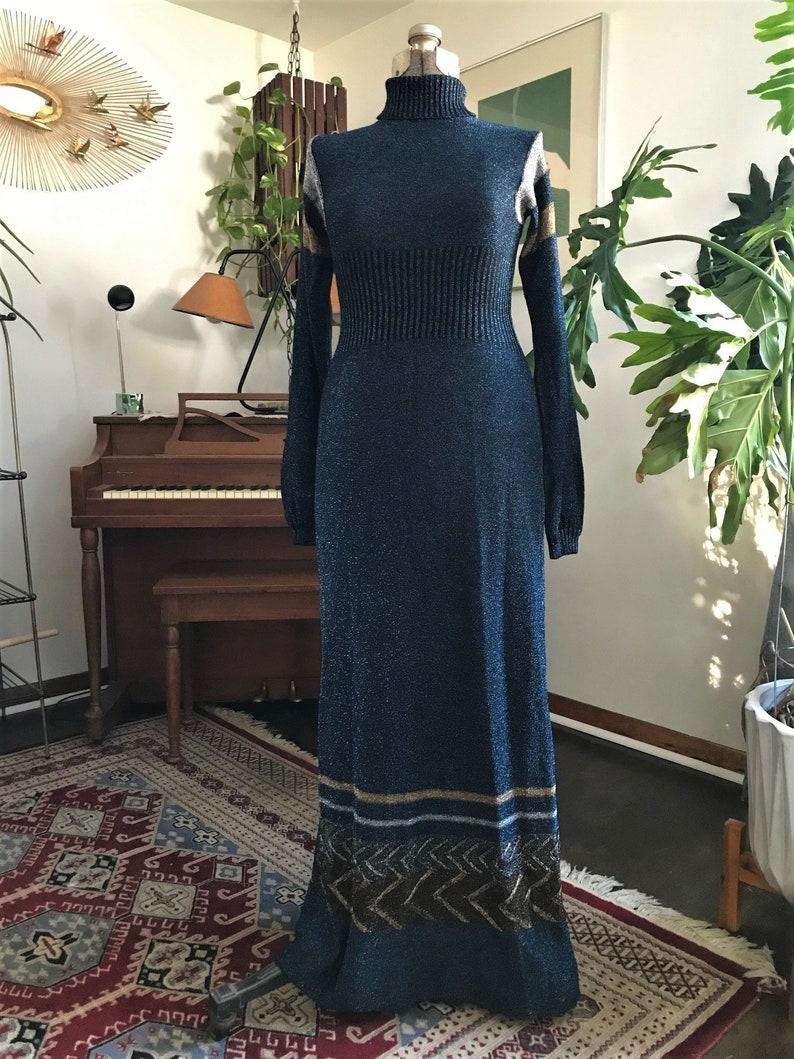 Vintage 70s Disco Dress Metallic Blue Gold Silver Lurex Maxi Dress Long Sleeve Turtleneck Striped Chevron Tag Size 910 Small Medium