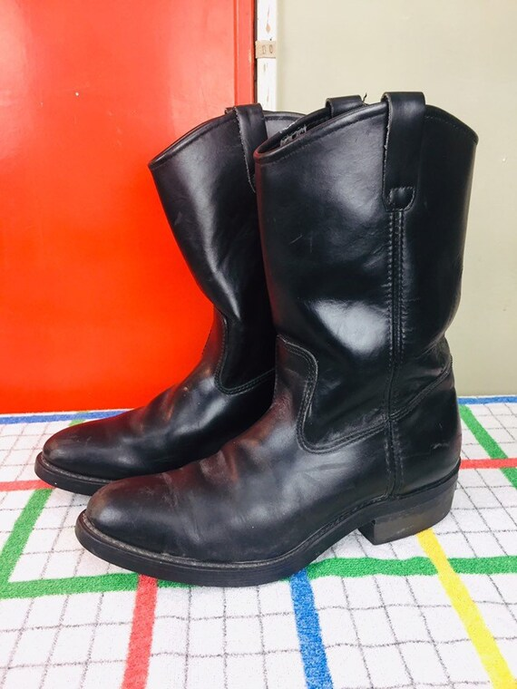 1532c1805c9 Vintage Black Leather Cowboy Boots / Men's size 9 / Distressed Leather  Western Boots / Black Biker Boots / Made in USA / Vibram Soles Boot
