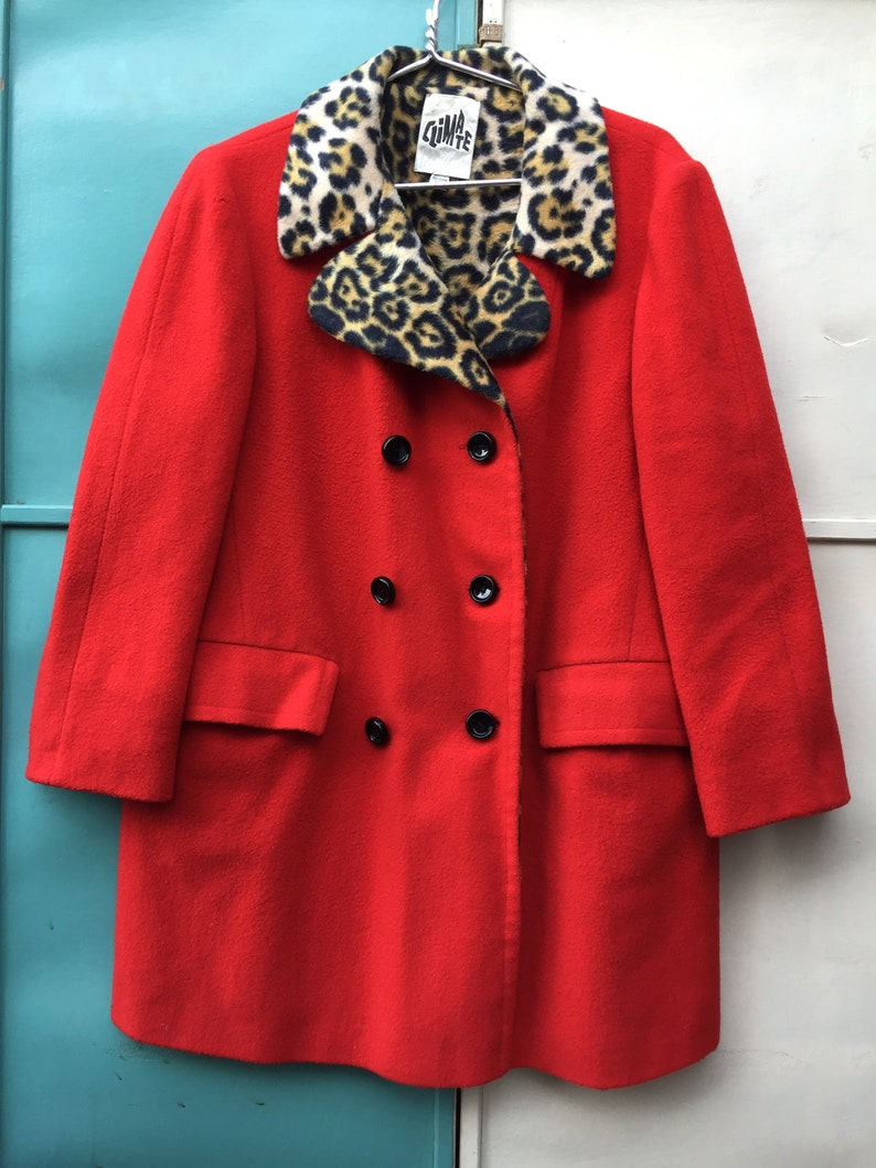 a875e6ca11a6 60s Red Wool Faux Leopard Fur Lined Coat by Climate | Etsy