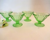 Vintage Anchor Hocking Block Optic Sherbet Glasses - Set of 4 - Green Depression Glass- Vintage Vaseline Glass Footed Sherbet Dish