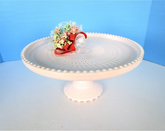 cottage decor cake plate BEAUTIFUL Indiana Glass Teardrop Pattern Milk Glass Cake Stand Wedding Decor Farmhouse