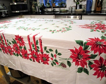 Vintage CHRISTMAS TABLECLOTH POINSETTIA Candles in Candelabra Holiday Red Green White