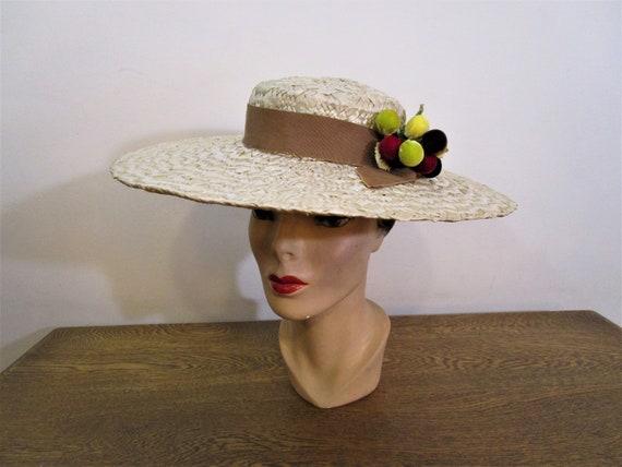 Vintage 1940's Milgrim WIde Brimmed Straw Hat with