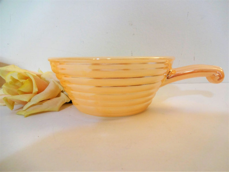 Individual Casseroles Vintage Fire King Peach Luster Beehive Soup Bowls Handled Bowls Set of 6 Chili Bowls