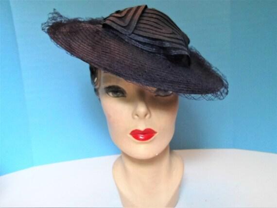 Vintage 1930's - 1940's Fine Straw Wide Brim Tilt