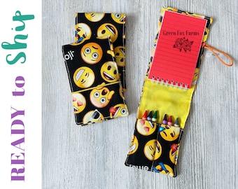 Kids Coloring Set, Emojis Mini Art Set, Girls Drawing Kit, Art Party Favors, Toddler Crayon Case