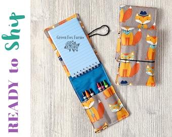 Fox Art Kit for Kids, Boys Crayon Roll, Girls Drawing Set, Toddler Craft Kit,  Art Party Favors, Fox Crayon Wrap