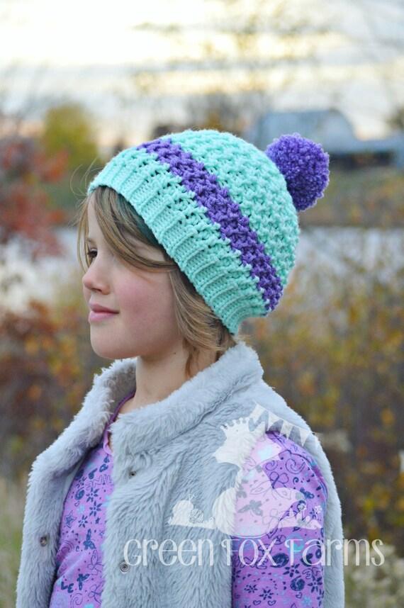 Ragazze Striped Beanie uncinetto cappello di inverno ragazze  414fe57d7eac